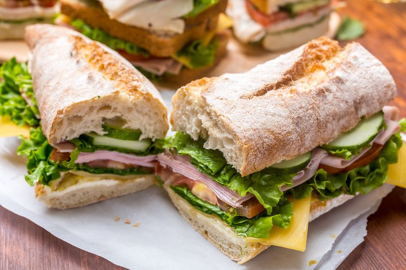 Ham and Mustard Baguette Sandwich